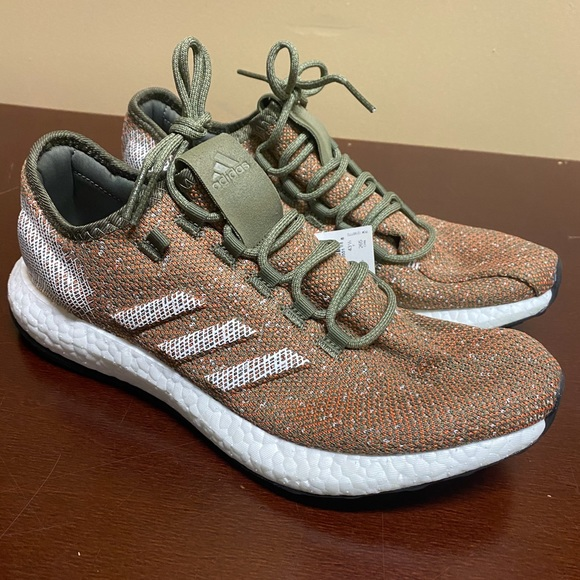 Adidas Pure Boost Size 9.5 Raw Khaki Running Shoes